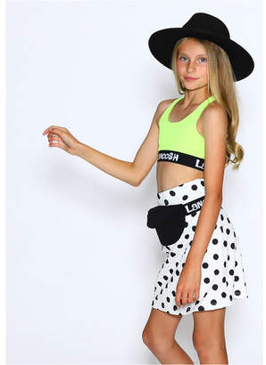 Lanoosh Little Girls Fitted Sports Bra with Trendy Logo Elastic Band