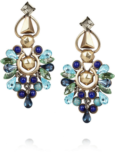 Etro Crystal and stone clip earrings