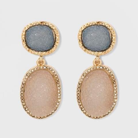 SUGARFIX by BaubleBar Druzy Drop Earrings - Gray