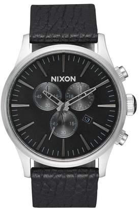 Nixon Men's The Sentry Chronograph Genuine Alligator Strap Watch, 42mm
