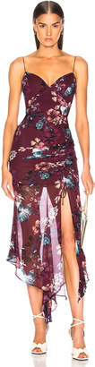 Nicholas Floral Drawstring Dress in Burgundy | FWRD