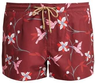 Athena Thorsun Floral Print Beach Shorts - Womens - Burgundy Multi