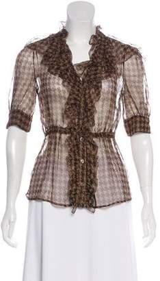 Prada Printed Short Sleeve Blouse