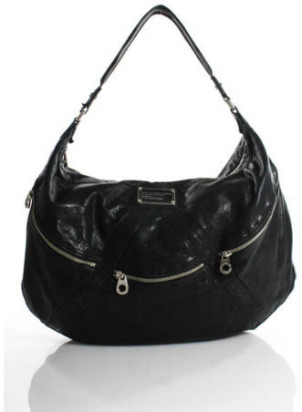 Marc By Marc JacobsMarc By Marc Jacobs Black Leather Silver Tone Hardware Hobo Handbag