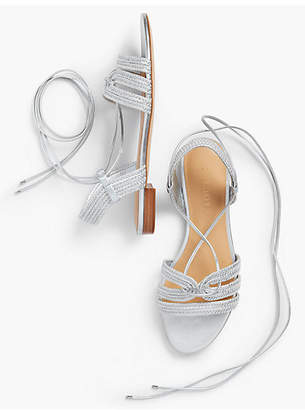 Talbots Keri Braided Lace-Up Sandals-Metallic