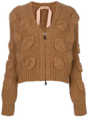 No.21 V-neck leaf knit cardigan