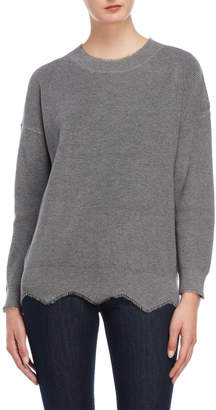 Miss Me Grey Frayed Scalloped Sweater