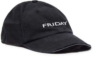 Vetements x Reebok 'Weekday' slogan embroidered distressed baseball cap