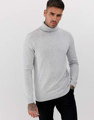 New Look roll neck sweater in light gray