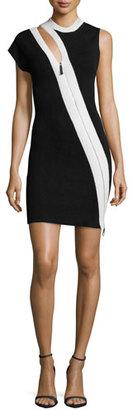 Thierry Mugler Asymmetric-Zip Sheath Dress, Black/White $1,445 thestylecure.com