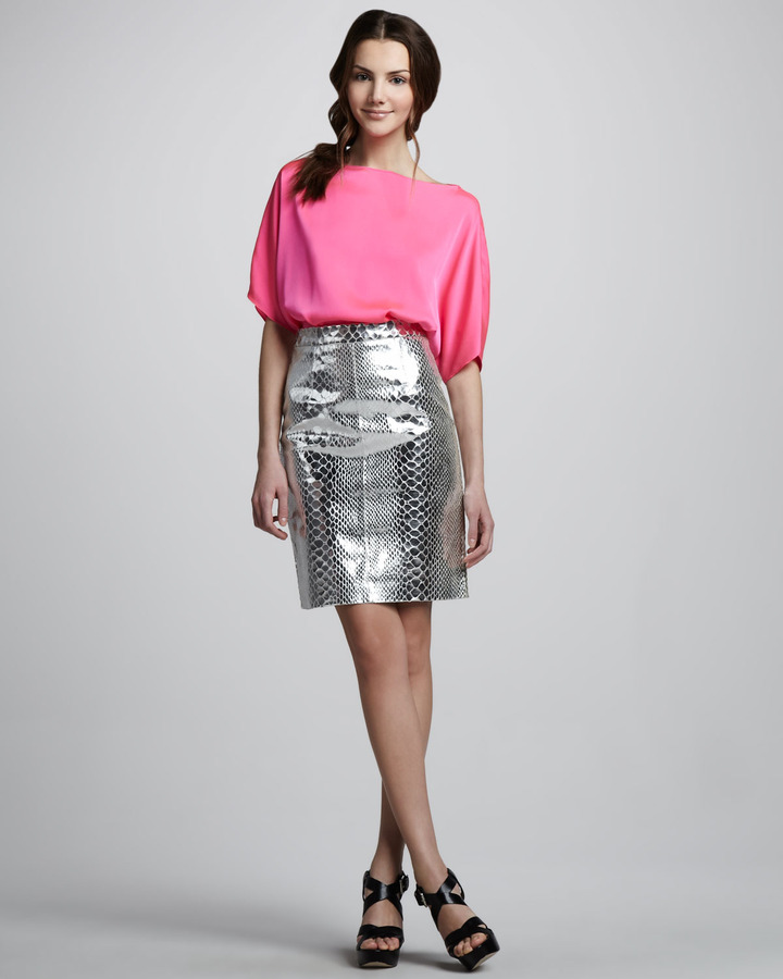 Milly Mirrored Leather Skirt