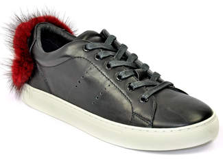 Lola Cruz 257Z10BK - Leather Fur Sneaker