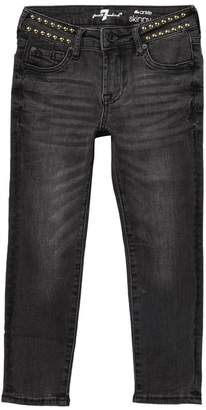 7 For All Mankind Ankle Skinny Jeans With Studded Waist (Big Girls)