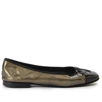Chanel Green Patent leather Ballet flats