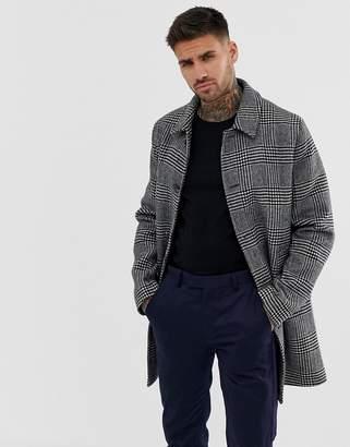 Asos Design DESIGN wool mix trench coat in grey check
