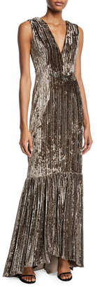 David Meister Sleeveless Velvet & Embellished Gown