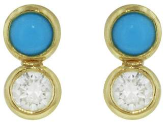 Jennifer Meyer Turquoise and Diamond Bezel Stud Earrings