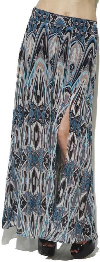 Arden B Deco Mirror Slit Maxi Skirt