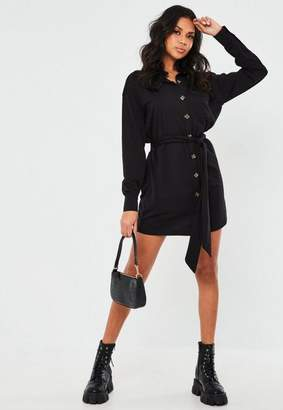 Missguided Black Jersey Tie Waist Utility Shirt Dress