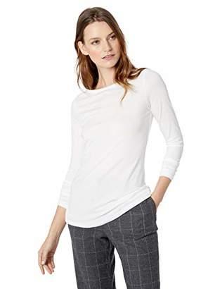 Lark & Ro Women's Long Sleeve Jersey Pima Cotton/Modal Boat Neck T-Shirt