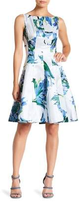 Gabby Skye Floral Print Fit & Flare Dress