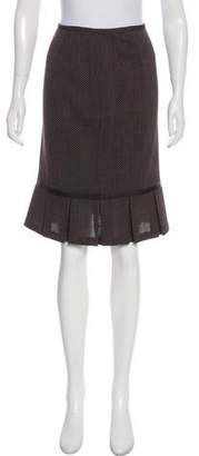 Lafayette 148 Knee-Length Peplum Leather-Accented Skirt