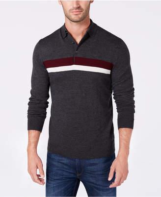 Club Room Men Merino Stripe Polo Sweater