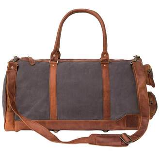 MAHI Leather - Canvas Leather Columbus Holdall Bag in Grey