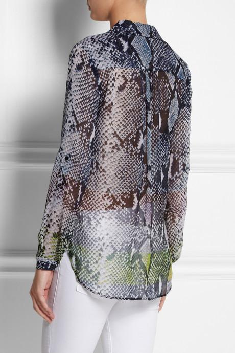 Diane von Furstenberg Lorelei snake-print silk-chiffon shirt