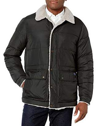 Izod Men's Quilted Microfiber Hipster Jacket W/Sherpa Trim