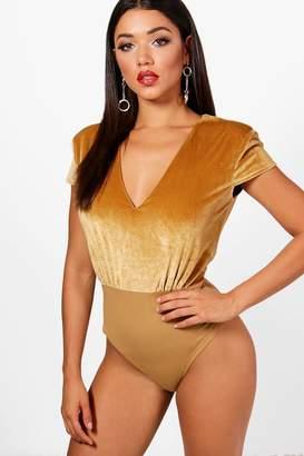 boohoo Kayla Velvet Shoulder Pad Plunge Bodysuit