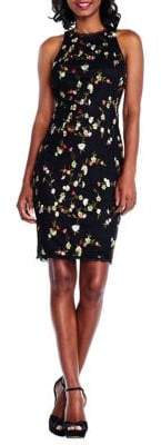 Adrianna Papell Floral Embroidery Sheath Dress