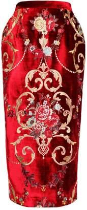 Royal Velvet Jiri Kalfar Embroidery Floral Brocade Skirt