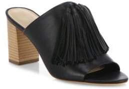 Loeffler Randall Tassel Leather Block Heel Mules