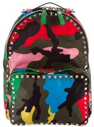 Valentino Nylon Psychedelic Camouflage Rockstud Backpack