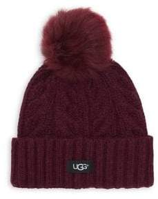 UGG Cable-Knit Shearling Pom Beanie