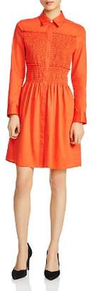 Maje Roumpa Smocked Shirt Dress