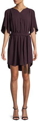 Halston Flowy Half-Sleeve Crepe Dress