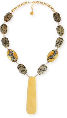 Devon Leigh Dalmatian Jasper Station Necklace