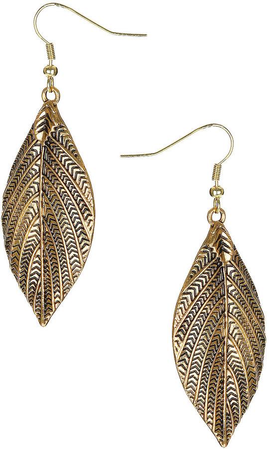 Engraved Leaf Drop Earrings