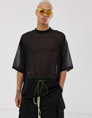 Asos Design DESIGN oversized longline t-shirt with half sleeve in woven sheer fabric in black