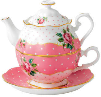 Royal Albert NEW Cheeky Pink Vintage Tea For One Set 3pce