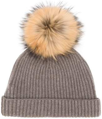 N.Peal detachable pom ribbed hat