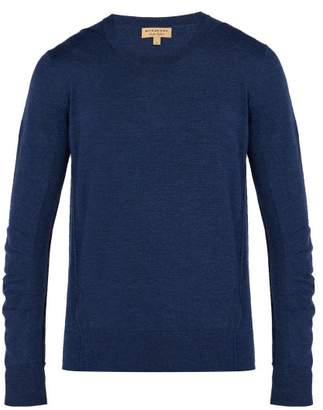 Burberry Check Panel Merino Wool Sweater - Mens - Blue