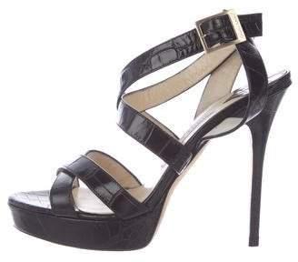 Jimmy Choo Leather Platform High-Heel Sandals