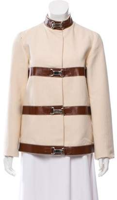 Michael Kors Leather-Trimmed Collarless Jacket