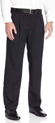 Haggar Men's Two Tone Herringbone Expandable Waist Pleat Front Dress Pant