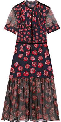 Markus Lupfer Susie Floral-print Silk Crepe De Chine And Chiffon Midi Dress - Red