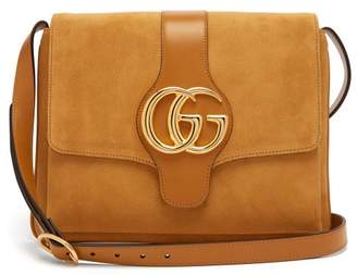 Gucci Arli Gg Suede And Leather Cross Body Bag - Womens - Light Tan