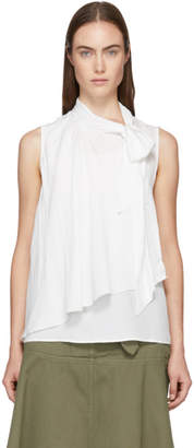 See by Chloe White Silk Bow Blouse